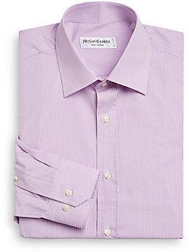 Yves Saint Laurent Mini-Gingham Cotton Dress Shirt