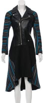 Junya Watanabe Comme des Garçons Vegan Leather-Trimmed Patterned Dress