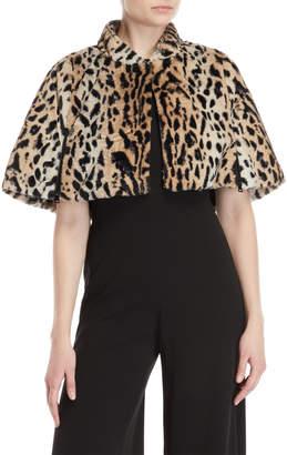 Betsey Johnson Leopard Print Faux Fur Cape