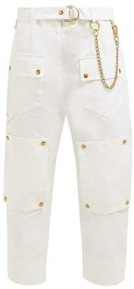 Symonds Pearmain - Chain Embellished Cotton Cargo Trousers - Womens - White