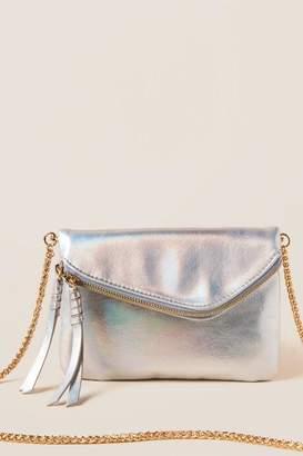 francesca's Mali Holograhic Clutch Crossbody - Silver