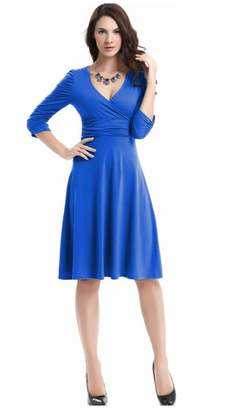 Best Nest Wellness Bestgift Women's Solid Color V-Neck High Waist Pile A-Line Dress XL