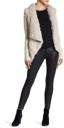 Love Token Draped Genuine Dyed Rabbit Fur Jacket