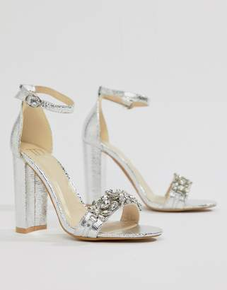 1773dd95aababe True Decadence Silver Embellished Block Heeled Sandals