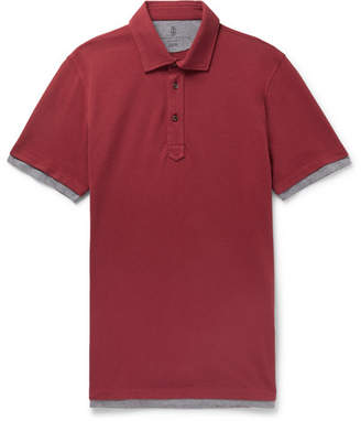 Brunello Cucinelli Slim-Fit Jersey-Trimmed Cotton-Piqué Polo Shirt