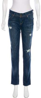 Hudson Distressed Mid-Rise Jeans