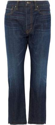 Vince Cropped Frayed High-Rise Straight-Leg Jeans
