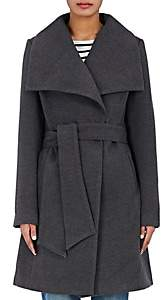 Barneys New York WOMEN'S MELTON WRAP COAT-CHARCOAL SIZE XS