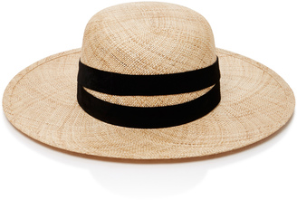 Janessa Leone Leather-Trimmed Straw Hat $250 thestylecure.com