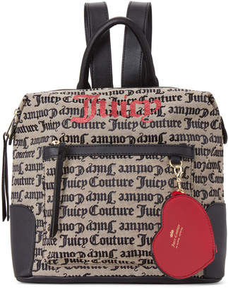 Juicy Couture Beige & Black Popout Heart Backpack