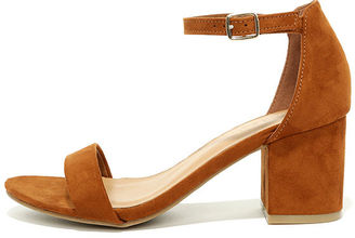 For Real Chestnut Suede Ankle Strap Heels $29 thestylecure.com