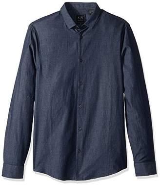 Armani Exchange A|X Men's Classic Denim Button Down Shirt