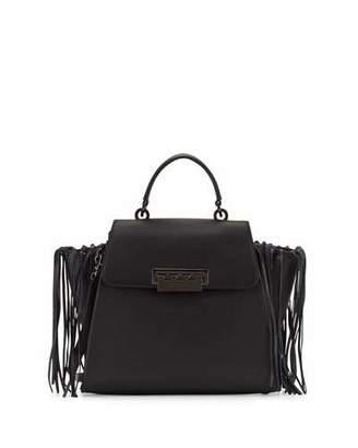 ZAC Zac Posen Eartha Iconic Leather Satchel Bag W/Fringe, Black $550 thestylecure.com
