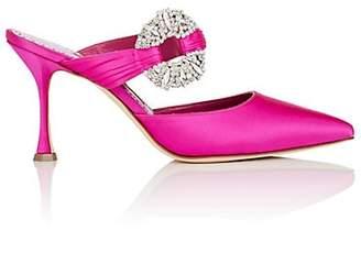 Manolo Blahnik Women's Maidugur Satin Mules - Pink Satin