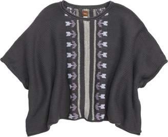 Tea Collection Floral Stripe Knit Poncho