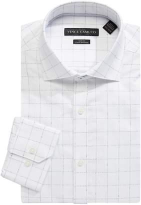 Vince Camuto Slim Fit Check Cotton Sateen Dress Shirt