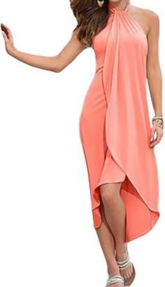 Faithtur Sexy Women Halter Neck Backless Wrap Front Long Summer Beach Dress