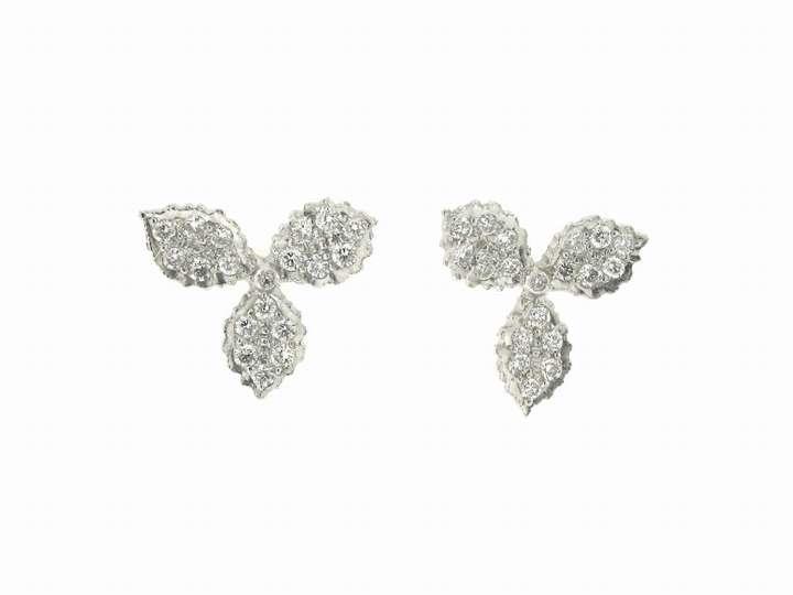 Cathy Waterman Hydrangea Stud Earrings in Platinum and Diamond