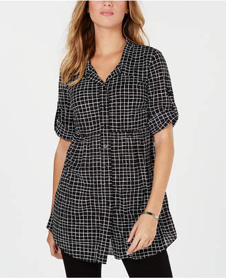 Style&Co. Style & Co Petite Checkered Roll-Tab-Sleeve Shirt