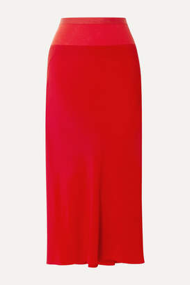Rick Owens Ribbed Knit-trimmed Crepe De Chine Midi Skirt - Red