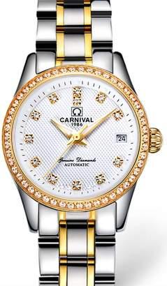Carnival Women's Automatic Mechanical Analog Watch Chic Rhinestones Dress