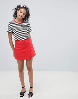 Pimkie Tailored Button Front Mini Skirt