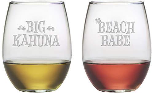 'Big Kahuna' & 'Beach Babe' Stemless Wineglass Set