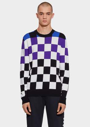 Versace Checkerboard Viscose Intarsia Sweater