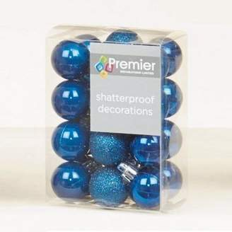 Midnight Blue Decorated 3Cm Bauble Decorations (Set Of 24) By Premier