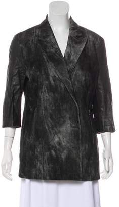 Alexander Wang Leather-Accented Wool Jacket Grey Leather-Accented Wool Jacket