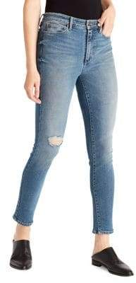 Ella Moss Straight High Rise Ankle Distressed Rigid-Look Jeans