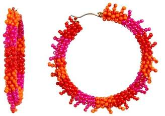 Suzanna Dai Triple Color Beaded Accent 50mm Hoop Earrings