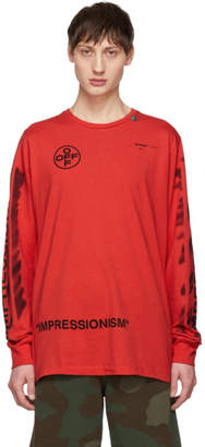 Off-White Off White Red Diag Stencil Long Sleeve T-Shirt