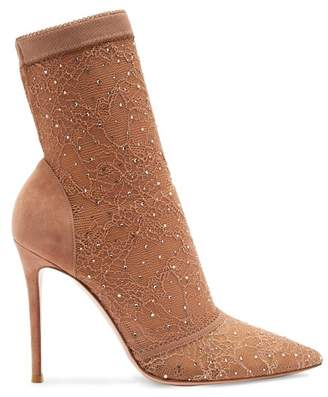 Gianvito Rossi Pizzo Crystal Embellished Stretch Lace Ankle Boots - Womens - Nude