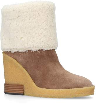 Tod's Suede Wedge Boots 85
