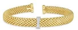 14K Yellow & White Gold Diamond Popcorn Cuff Bracelet
