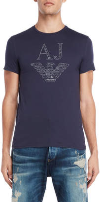Armani Jeans Navy Logo Custom Fit Tee