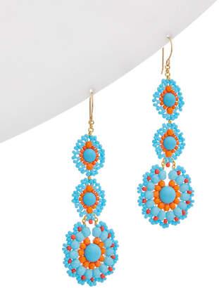 Miguel Ases 18K Plated Turquoise Beaded Triple Drop Earrings