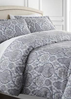 SOUTHSHORE FINE LINENS Full/Queen Sized Luxury Premium Oversized Comforter Sets - Boho Paisley Grey
