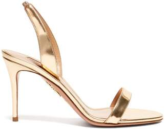 Aquazzura So Nude 85 Mirrored Leather Slingback Sandals - Womens - Gold