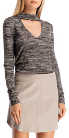 Lezlie Marled Knit Cutout Top