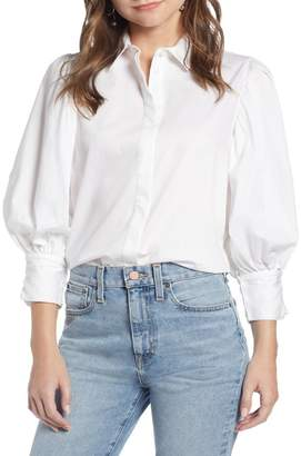 Nordstrom Something Navy Full Sleeve Button Through Shirt Exclusive)