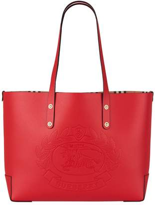 Burberry Small Leather Embossed Crest Tote Bag