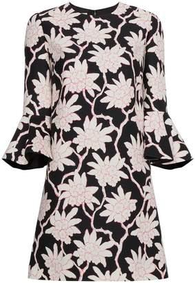 Valentino floral print three-quarter length mini dress