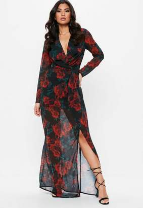 Missguided Black Floral Rose Print Wrap Front Maxi Dress, Black