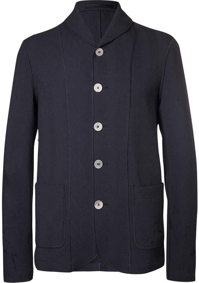 Navy Shawl-Collar Textured Cotton-Blend Blazer