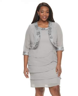 Le Bos Plus Size Tiered Georgette Evening Dress & Jacket Set