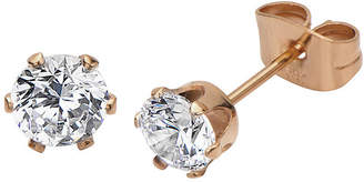 JCPenney FINE JEWELRY Cubic Zirconia 5mm Stainless Steel and Rose-Tone IP Stud Earrings