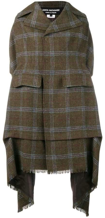 draped plaid coat