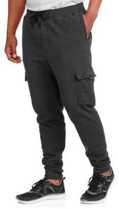 Generic Big Men's Elastic Waist Solid Fleece Cargo Pant